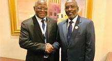 Poignée de mains entre SEM Mohamed ALI Houmed (à droite) , Président de l'Assemblée Nationale de Djibouti et  M. IDI Gado  Aboubacar Secrétaire Général de l'UPA