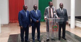 Audience du Président de l'Assemblée Nationale De Côte D'ivoire, S.E.M. Amadou Soumahoro, au Président entrant du comité exécutif de l'UPA, S.E.M Mohamed Ali Houmed, et au Président sortant, S.E.M. Alassane Bala Sakande